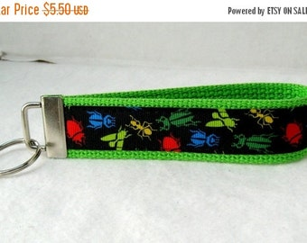 40% Off Bugs Key Fob LIME Green Insects Keychain Wristlet