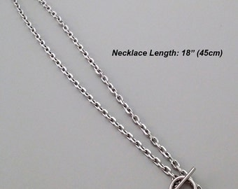 "Ship from USA: 3pcs QUALITY stainless steel nickel free Link Chain 18"" inches necklace with toggle clasp (Silver tone)"