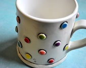 Multi Colored Polka Dotted/ Spotted Mug with White Interior