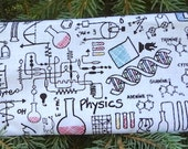 Science pencil case, zippered bag, crochet hook case, knitting notion pouch, Science Lab, The Deep Scribe