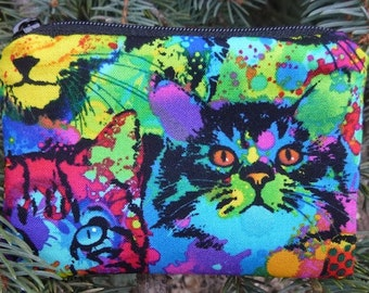 Colorful cat coin purse, gift card pouch, credit card pouch, Painted Cats, The Raven