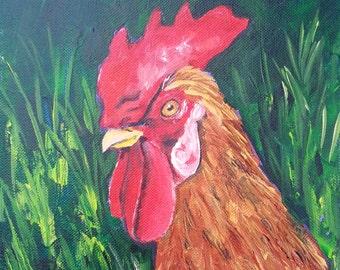 "Original 8"" x 8"" acrylic rooster painting by Padgett Mason 'Mr. Hilda'"