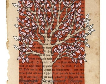 Tree - A4 size art print -  mixed media artwork on bookpage - sepia tree with white leaves