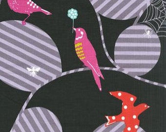 Echino Birds Web Black OOP Fabric- HALF YARD