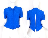 Vintage 90s Button Up Split Back Blouse - Small - Cobalt Blue Crinkle Rayon Button Front Peekaboo Back Womens Collared Top