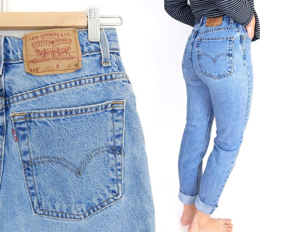 vintage 90s high waisted levi 39 s 512 slim fit jeans size. Black Bedroom Furniture Sets. Home Design Ideas