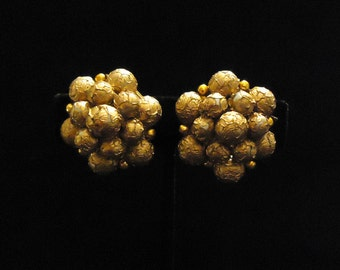 Gold Cluster Beaded Clip On Earrings Made in Hong Kong