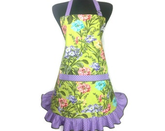 Floral Print apron with ruffle, Carnations, Green with Purple trim,  50s style kitchen, Reto Grils apron