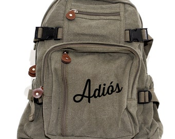 SALE Backpack, Adios, Canvas Backpack, School Backpack, Laptop Backpack, Mexican Gift, Mens Backpack, Travel Rucksack, Back to School