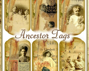 Heritage Layers Ancestors Tags Vintage Artistic Journal Embellishments Digital Printable INSTANT DOWNLOAD