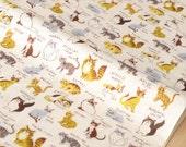 Japanese Fabric Kokka Trefle - Cats double gauze - cream - 50cm