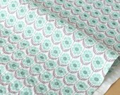 Japanese Fabric Seersucker Lawn - flower rows - mint, grey - 50cm