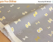 Japanese Fabric - butterfly ribbons canvas - grey - 50cm
