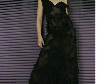Sale - Sale - NYNS Black sheer evening gown