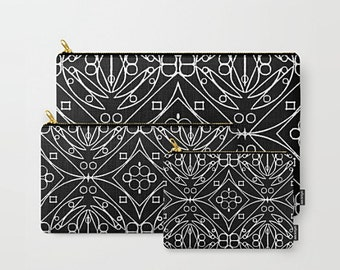 Zip Pouch, Black And White, Makeup Bag Set, Cosmetic Bag, Cosmetic Zip Pouch, Art Cosmetic Bag, Beauty Zipper Pouch, Toiletry Zip Pouch