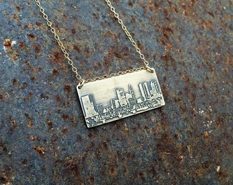 Columbus Ohio skyline necklace | Columbus skyline pendant in copper or brass | jewelry for her