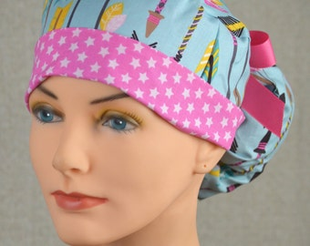 The Perfect Fit Ponytail Scrub Hat Original Design Best Fit Ever Pony Pouch- Lucky Arrows