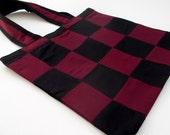 Burgundy Checkered Tote Bag. Work Tote Bag. Commuter Bag. Gym Bag. Book Bag. Shoulder Bag. Unisex Bag.