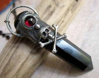 Sale - Jolly Roger - Skull and Crossbones Pirate Pendant with Black Tourmaline and Red Garnet