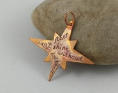Quote copper pendant. Donut pendant. Engraved jewelry