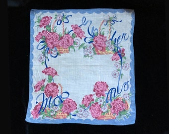 Vintage Hanky, Hankie, 1950's, Pink and Blue Floral Print, Cotton, Rolled Edges