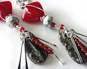 Cherry Red Bohemian Earrings, Rustic Earthy Clay Pottery Drops, Silver Spikes, Long Silver Beaded Earrings, Beaded Jewelry, OOAK