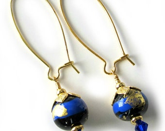 Lampwork Earrings Cobalt Blue Black Gold Beaded Drop Earrings, Cobalt Swarovski Crystals, Medium Kidney Wire, Beaded Jewelry ON SALE