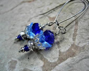 Dainty Blue Firefly Earrings, Silvery Filigree, Gifts under 25, Cobalt Blue, Whimsical Flowers, Lightweight Earrings, Elksong Jewelry