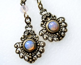 Victorian Style Pink Glass Opal Antiqued Brass Dangle Earrings