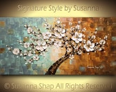 ORIGINAL Large Abstract Landscape Oil Painting White Cherry Blossom Flower Tree Home Decor Palette Knife  Mixed Media Texture Art by Susanna