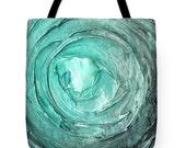 Designer Art Tote Bag - abstract aqua blue green/teal vortex, unique designer fashion statement tote from Susanna's art