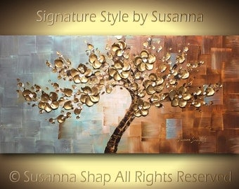 ORIGINAL Large Abstract Landscape Tree Painting Texture Home Decor Wall Art Gold Flower Cherry Blossom Palette Knife Art 48x24 ~Susanna