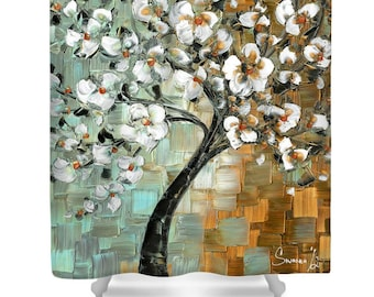 Designer Shower Curtain Art- abstract brown blue and white cherry blossom tree, modern contemporary bathroom home decor from Susanna's art