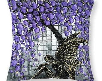 Designer Art Accent Throw Pillow - abstract gold & black fairy under purple cherry blossom, goth home decor from Susanna's art