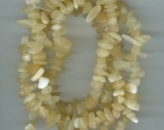 Yellow Chip Beads, Large Yellow Calcite Gemstone Chips 34 inch Spacer Bead Chips