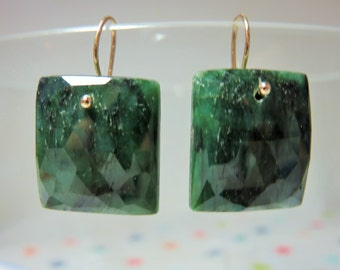 Natural Emerald Rose Cut Square Briolettes, and 14K Solid Yellow Gold Earwires