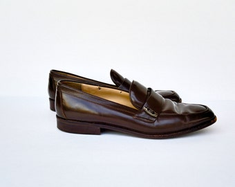 SALE/ brown leather penny loafer shoes / 7