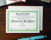 letterpress favorite brother certificate greeting card birthday happy birthday card green & black on soft white paper