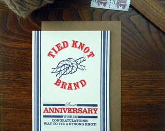 letterpress anniversary potato sack feed sack inspired greeting card tied knot best wishes