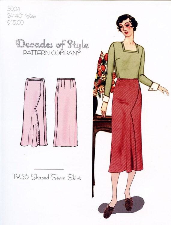 1930s Dresses, Clothing & Patterns Links 1936 Shaped Seam Skirt $15.00 AT vintagedancer.com