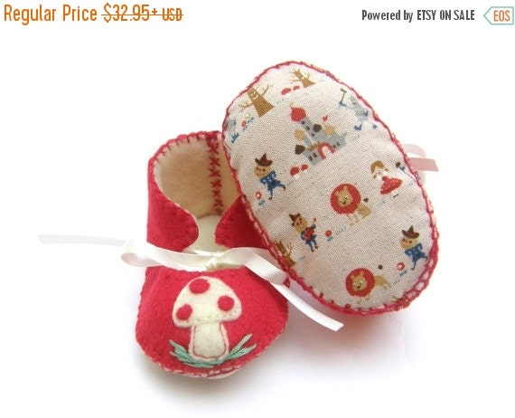 20 % off Summer Sale Wizard Of Oz and Mushroom or Toadstool Unisex ECO Baby Booties Baby Booty First Baby Shoes Baby Boots