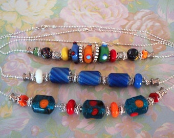 Three Colorful Lampwork Glass Bead Necklaces, Your Choice