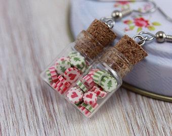 Peppermint Bottle Earrings