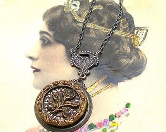 Blossom, Antique BUTTON necklace, 1800s Victorian flower on silver chain. Button jewellery.