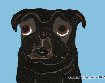 Black Pug Note Cards -  Innocent Pug - Who Me?