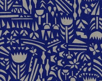 HALF YARD Ellen Baker - Roughcut - Botanica BLUE - Cotton Linen Canvas  - Kokka  Japanese