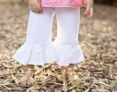 Ruffle pant girl- white ruffle pant- cotton - white pants- girls spring outfit- ruffle bottom girl- toddler bottoms- photo shoot-easter out