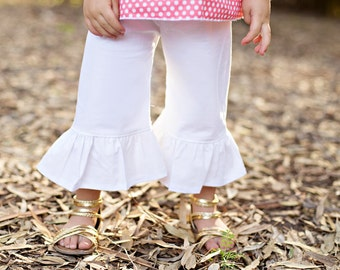 Ruffle pant girl- white ruffle pant- cotton - white pants- girls spring outfit- bottoms- baby girl outfit-easter outfit