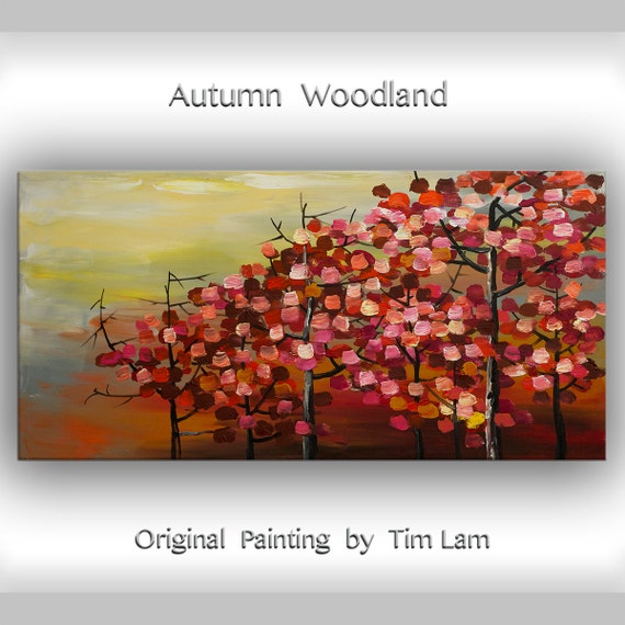 Fall aspen Red Forest,  Abstract Contemporary Huge Original Oil Landscape Painting 48x24 Nature decor Fine art by Tim Lam