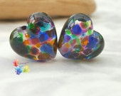 Lampwork Beads Forever Rainbows Heart Pair